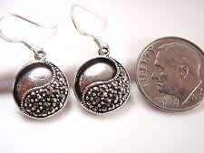 Yin Yang Marcasite Earrings Sterling Silver Corona Sun Start Point for Change