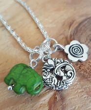 "Good Life Karma Lotus Flower Fish Spiral Emerald Elephant Necklace  18"""