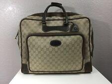 Authentic 1960`s Vintage Authentic Gucci GG Canvas Leather Suitcase Travel Bag