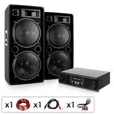 EQUIPO DJ COMPLETO AUNA AMPLI 480W + 2 PA ALTAVOCES 600 VATIOS CABLES INCLUIDOS