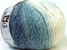 Lot of 4 x 100gr Skeins Ice Yarns MIRAGE COLOR (50% Wool) Yarn White Light Bl...
