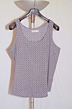 Faded Glory Sheer Tank Top Blouse Size XXL 20 Black and White Geometric Print