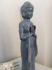 Beautiful Ceramic Buddhist Monk Praying Statue. Adorned Swarovski Elements