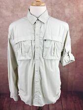 REI Vented Long Sleeve Roll Up Cuffs Outdoors Hiking Khaki Tan Shirt Men's L