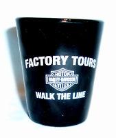 "2.25"" black shot glass Harley Davidson Motorcycle Walk The Line Factory Tour WI"