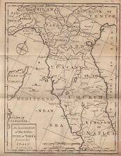 1764 Gentleman's Magazine - Map of Central Italy - The Duke of York's Travels