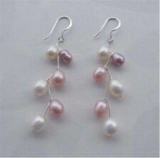 Beautiful saltwater cultured pearls pink white multi-Color earrings AAA