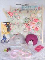 Knitting Kit Beginners Learn to Knit Book WOOL Needles Scissors Frame Basket inc