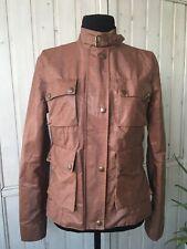 Belstaff Women Kerala Brown Nylon Biker Waterproof Gold Label Jacket Size 44/M