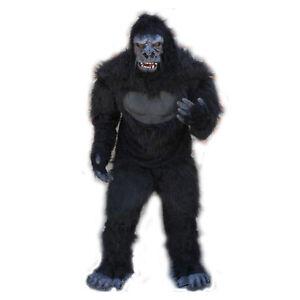 Professional Gorilla Ape Adult Halloween Costume Suit Mask Hands Feet