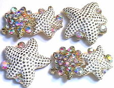 4 - 2 HOLE BEADS WHITE PAINTED STARFISH RAINBOW AB CRYSTAL STUDDED IN GOLD TONE