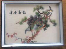 Signé brodé chinois asiatique encadrée soie broderie oiseaux paons en arbre
