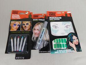 Mermaid Halloween Costume Accessories - Makeup Hair-Chalk Nail Stickers #7458
