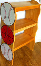 Rare American Sports Themed Beech Wooden Bench Seat Chair Baseball Book Shelves