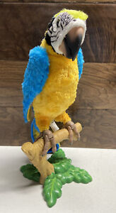 VINTAGE FURREAL FRIENDS SQUAWKERS TALKING PARROT MACAW W/PERCH HASBRO