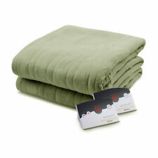 Biddeford Comfort Knit Fleece Electric Heated Blanket King Sage Green