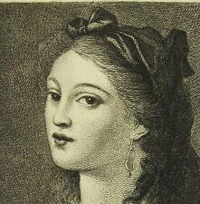 Antique Print Catherine Rosalie Gérard Duthé danseuse courtisane c1850 Fragonard