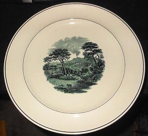 "July 1924 Eight Copeland Spode 10"" Plates, Dark Green Scene, Black Rim"