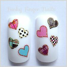 Nail Art Water Decals/Stickers/Transfers - Hearts  Tartan Check #182