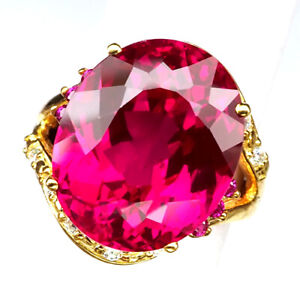 TOPAZ PINK RASPBERRY 23.10 CT. SAPP RUBY 925 STERLING SILVER GOLD RING SZ 6.25
