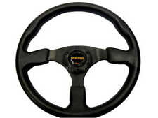 "New 14"" Black PU 3 Spoke Sport Racing Steering Wheel + Horn Button"
