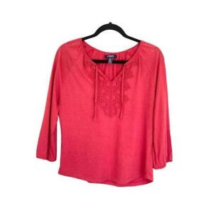 Chaps Petite Long Sleeve Crochet Blouse Red Size Petite Small