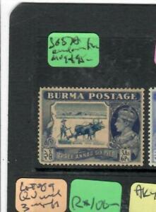 BURMA (PP0202B)  KGVI   3A 6P SG     BIRDS ON TREE   MOG