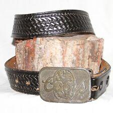 "Vintage Full Grain black Leather Belt sz 32 & 1½"" Wide solid brass COORS buckle"