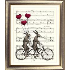 ART PRINT VINTAGE MUSIC SHEET Page HARE BIKE Heart BALLOON Rabbit Cycle Retro