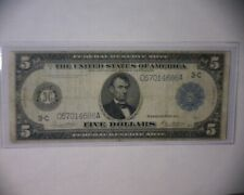 1914 $5 Federal Reserve Note Rare Philidelphia Type A 1914 Large Size Note