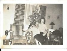 SMILING Man and Wife Christmas Tree Neat ASHTRAY 1950s Vintage Photo