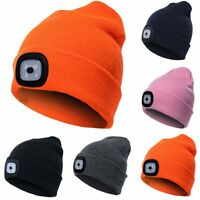 Women Men Winter Knitted Beanie Wool Cap with 4 LED Head Light Torch Warm Hat