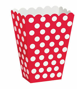 8 x Red & White Polka Dot Spots Treat Boxes Party Favour Bags / boxes