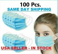 100 PCS Face Mask Cover Medical Surgical Dental Disposable 3-Ply Ear-loop NO BOX
