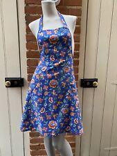 More details for vintage blue floral tie waist full apron