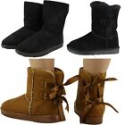 WOMENS LADIES FLAT FUR LINING BOW WINTER WARM LOW HEEL ANKLE BOOTS SHOES SIZE