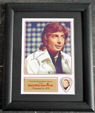 Barry Manilow Preprinted Autograph/Guitar Pick Display Mounted & Framed