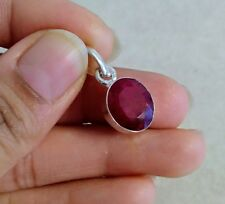 """NATURAL OVAL RED RUBY 925 STERLING SILVER PENDANT 1"""" NECKLACE CHARM"""