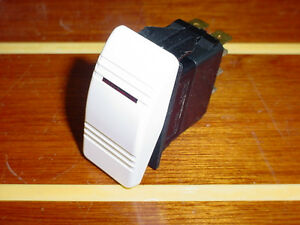 BOAT~RV~WHITE~LIGHTED CONTURA ROCKER SWITCH~CARLING~3 POSITION~5 BLADE~12 V~20A
