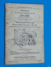 Vintage 1938 McCormick-Deering Harvester-Threshers Engine Care Operation No 60