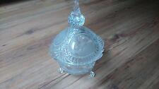 Vintage Vidrio Claro Corte Francés Grande Con Tapa Bonbon PLATO en muy buena condición