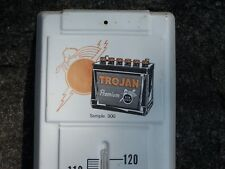 Vintage Trojan Auto Battery Thermometer Advertising Sign Works