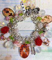 Tea Time Altered Art Charm Bracelet OOAK Handmade , tea charms, glass beads