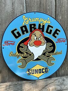 12in Sunoco Gasoline Ford MOTOR OIL SIGN Vintage Style Heavy Steel Sign Pump