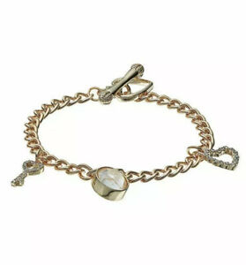 JUICY COUTURE Key & Heart Crystal Charm Bracelet Gold Tone Bling Toggle NWT