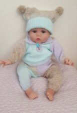 Premature Baby Boy Pants And Jumper And Hat brown blue suit P9