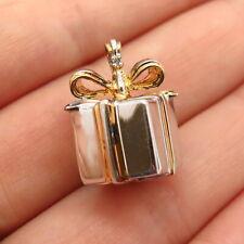925 Sterling Silver 2-Tone Real Diamond Accent Present Box Slide Pendant