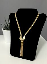 Vintage Style Gold Necklace With Tigers Eye Stone