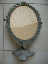 Ancien support de miroir sur pied en métal doré cadre encadrement 46 cm