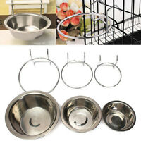 Stainless Steel Hang-on Bowl Metal Pet Dog Cat Crate Cage Food Water Bowl New